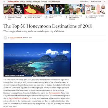 The Top 50 Honeymoon Destinations of 2019