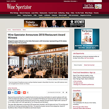Wine Spectator Announces 2018 Restaurant Award Winners